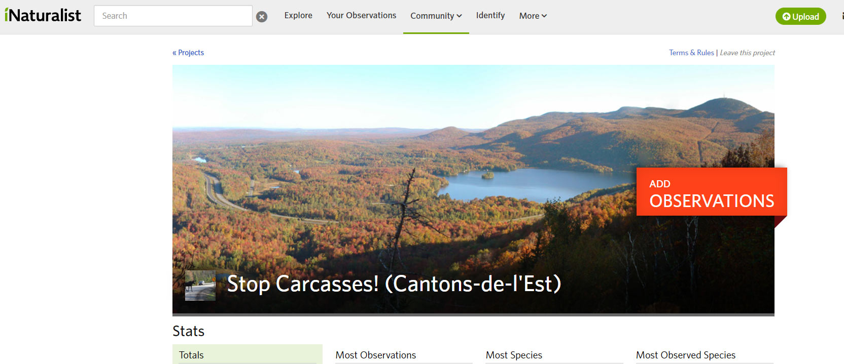 Capture d'écran de l'application iNaturalist